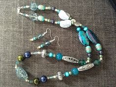 Necklace Earrings Seascape Tones Beads £12.00