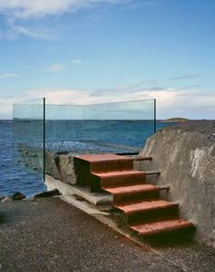 Cor-ten steel, glass, stone