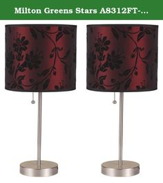 "Milton Greens Stars A8312FT-S Ruslana Contemporary Table Lamp with Flower Print, 18.5-Inch, Set of 2. The Ruslana Contemporary 18.5"" Table Lamp Set by Milton Greens Stars is as simplistic as it is artistic. No longer will your lighting options be categorized as plain, or boring. Set your artistic flair loose with startling lamp shade designs created for those who live life outside the lines of convention and seek thrills beyond the everyday. Introduce another element of enchantment to…"
