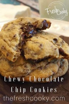 The CHEWIEST chocolate chip cookies, loaded with chocolate and just the right amount of crunch and chewiness. #chocolatechipcookies #dessertrecipes #chewycookies #cookies #best