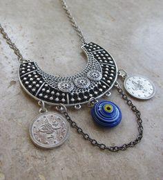 silver coin necklace,ottoman necklace,coin necklace,silver tribal necklace,turkish coin necklace,boho necklace,boho jewelry,evil eye jewelry