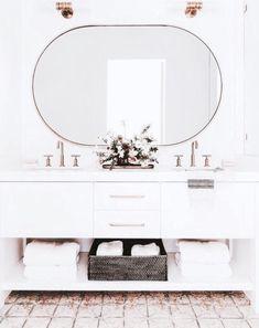 Amazing Bathroom Mirror Design Ideas For Every Style - Home Design Ideas Bathroom Mirror Design, Bathroom Goals, Bathroom Styling, Bathroom Interior, Neutral Bathroom, Modern Bathroom, Round Bathroom Mirror, Decorative Bathroom Mirrors, Bathroom Accents