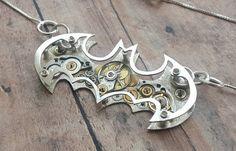 Handmade Silver 925 Steampunk Batman Necklace by GomeowCreations