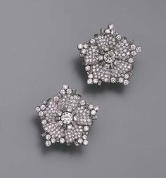 A PAIR OF DIAMOND FLORAL EARCLIPS, BY BULGARI