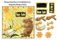 Let s Looking For Eggs on Craftsuprint designed by Monique de Groot - 1 sheet to make a verry gorgeous easter card.With hand drawn elements.Easy to make, just cut out the elements and stick them with foam pads or sillicone glue for creating 3d-effect.Thank you for looking and support
