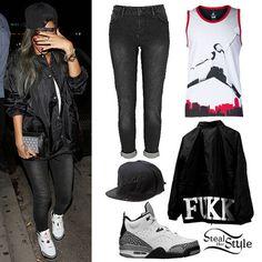 Rihanna: Faded Jeans, Black Jacket