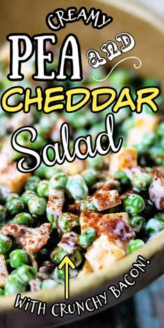 Savory Salads, Healthy Dishes, Veggie Dishes, Food Dishes, Healthy Recipes, Vegetable Recipes, Pea Salad With Bacon, Pea Salad Recipes, Creamy Peas