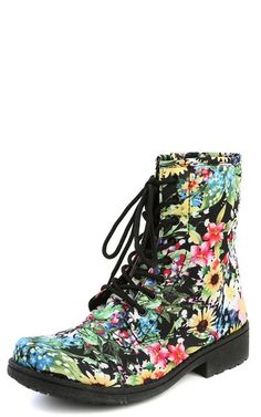 Qupid Missile Lace Up Floral Combat Boots by Makemechic