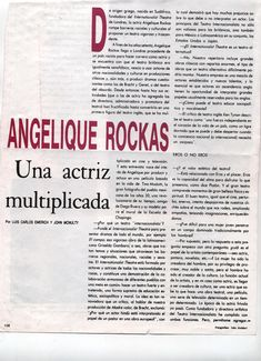 Vogue Mexico Interview , page 1. Title: Angelique Rockas, A multi-faceted actress