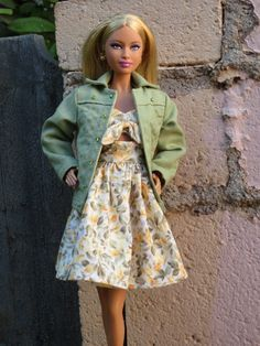 """OOAK """"Daisy"""" dress and jacket for model muse Barbie"""