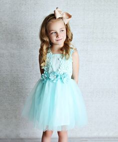 Look at this Lollies and Lace Boutique Mint Tulle A-Line Dress - Infant, Toddler & Girls on #zulily today!