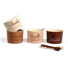 Caja 4 tazas + cucharas Chocolate