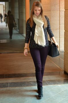 Black knit with sequins from Vero Moda, dark plum skinny's from New Look, Sam Edelman Lucca boots and Michael Kors Studded Selma bag