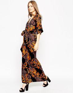 Image 1 ofASOS Devore Print Kaftan Maxi Dress