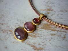 Great gift for hippie. Pink and gold Collier – tourmaline collier – a unique product by DeJe via en.DaWanda.com