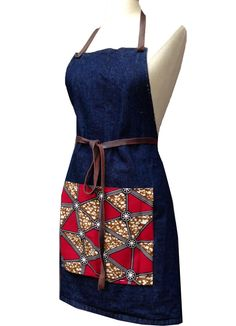 Image of Red Delta African Print + Denim Bib Apron African Print Fashion, African Fashion Dresses, African Outfits, African Textiles, African Fabric, African Wear, African Dress, African Crafts, Apron Dress