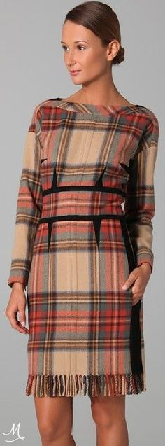 Sonia Rykiel Plaid Long Sleeve Dress women fashion outfit clothing style apparel @roressclothes closet ideas