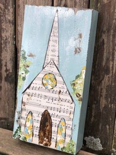 Church Painting Mixed Media Hymnal Page Art Vintage Hymnal Sheet Music Crafts, Sheet Music Art, Art Vintage, Church Crafts, Mixed Media Artwork, Painting Collage, Painting Abstract, Acrylic Paintings, Collage Art