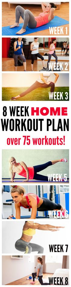 8 Week Home Workout Plan - over 75 different workouts that can be done at home! No gym pass needed! Tone-and-Tighten.com