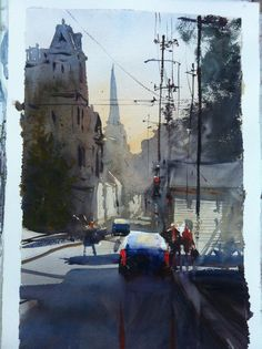 Alvaro Castagnet - Back in Montevideo now ,with wonderful memories of my trip! Watercolor City, Watercolor Sketchbook, Watercolor Artwork, Watercolor Artists, Watercolor Landscape, Landscape Drawings, Cool Landscapes, Art Society, Urban Landscape