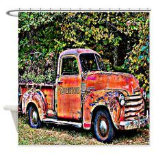Antique Chevy Truck Crossing The Color Line Shower