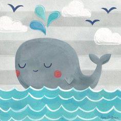 Oopsy Daisy - Let's Set Sail - Whale Canvas Wall Art 21x21, Anne Bollman