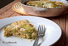 Timballo di riso con tenerumi e fiori di zucchina  #ricetta di @luisellablog Ale, Pasta, Chicken, Meat, The Originals, Tableware, Kitchen, Recipes, Rice