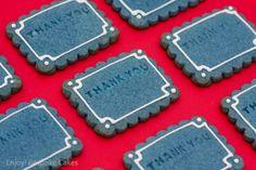 Blue Embossed Message Cookies by Enjoy! Bespoke Cakes