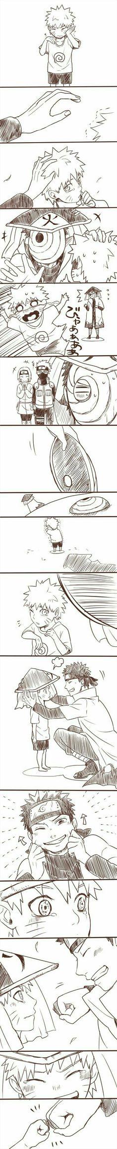 naruto uzumaki and obito uchiha . I love how Obito is trying to make naruto happy Itachi, Naruto Uzumaki, Sasunaru, Anime Naruto, Comic Naruto, Sasuke Sakura, Naruto Cute, Sarada Uchiha, Kakashi Hatake