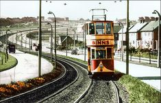 Sunderland (ex-Ilford approaching Humbledon on the Durham Road reserved track. October 1953 : Echo photo, colour by Malcolm Fraser Leeds Pubs, Sunderland City, Victorian Buildings, Bus Coach, Light Rail, Durham, Public Transport, Color Photography, Model Trains