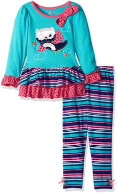 Nannette Little Girls' 2 Piece Bird Legging Set with Two Tiered Ruffled Mesh, Teal, 6. Tacked on bow on collar. Elastic all around waist.