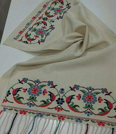 Hand embroidered table runner cross-stitch table by RugsNBags Cross Stitching, Cross Stitch Embroidery, Cross Stitch Patterns, Towel Embroidery, Embroidery Patterns, Palestinian Embroidery, Estilo Hippie, Cross Stitch Boards, Bargello
