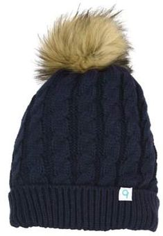 75bbe7b5fb2 Cold Front Women s Cable Knit Hat with Faux Fur Pom