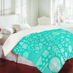 Nick Nelson Modern Elements In Turquoise Duvet Cover #dorm #dormdecor