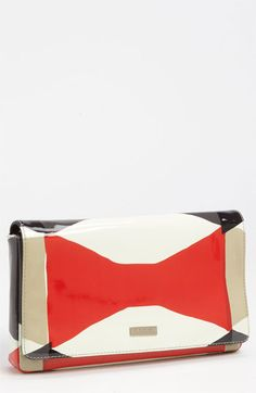 kate spade new york 'abstract signature bow - aloa' patent leather clutch