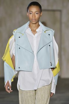 Rugged deconstructed motocross jackets from @Palmer_harding are softened up in a powder blue palette with canary yellow accents. Subscribers click here to see the full collection.