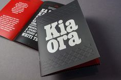 Māori language booklet with sports-related phrases, for Te Taura Whiri i te Reo Māori. Design by Fay & Walter.