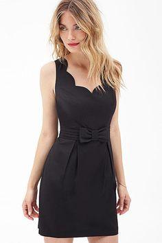 Gorgeous Black Wavy Edge V Neck Bow Decor Dress #Black #Dress #maykool