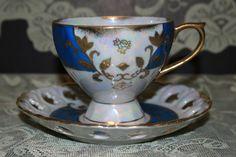 Ucagco Tea Cup Saucer Set Royal Blue Gold Opalescent Lustreware Iridescent Vintage 1950 Collectible Serving Dining Kitchen Decor Mid Century