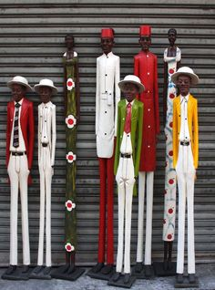 Tall African Hand Carved Wooden Figures - Phases Africa