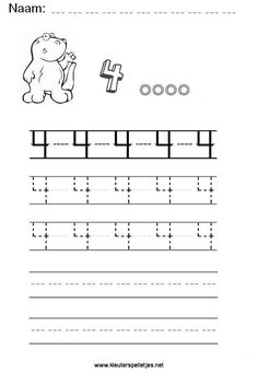 Cijfer 4, vier, leren schrijven. Alphabet Worksheets, Kindergarten Worksheets, Writing Numbers, Knowledge, Teacher, Lettering, School Stuff, Speech Language Therapy, Preschool