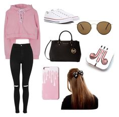 """""""Untitled #130"""" by littlejlink on Polyvore featuring Topshop, Converse, Michael Kors, Ray-Ban and PhunkeeTree"""