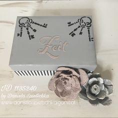 Aus einer Schachtel wird mit unseren Gonis Produkten ein tolles Unikat. Hierzu habe ich OutdoorDecor in hellgrau, die Steinpasten Glitter-Anthrazit und Glitter-Zartrosa sowie unsere Flexschablonen aus dem Herbstglück-Set verwendet.