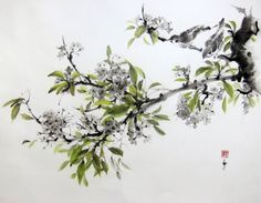 Japanese Ink Painting   Cherry blossom with sparrow painted with Sumi - ink on the japanese rice paper (gasenshi). size (inch): 26x20 inch size (cm): 67x52 cm Mounting: backed with a second layer of rice paper. Unframed and unmated  Signed with red stamp