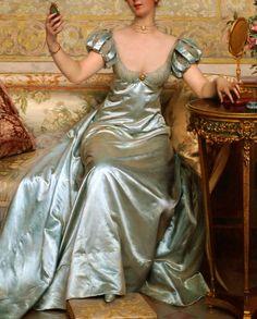 """""""Vanity"""" (detail) by Charles Frédéric Joseph Soulacroix Renaissance Paintings, Renaissance Art, Pretty Dresses, Beautiful Dresses, Fairytale Dress, Princess Aesthetic, Victorian Art, Fantasy Dress, Classical Art"""