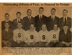 Preppy Vintage White Syracuse University Block S Varsity Letterman Sweaters Worn By Athletes Winning Annual Awards (Syracuse University Archives) #PreppySyracuse
