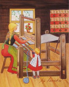 Weaving with Mom   by Mirja Clement For me it was weaving with Gramma...her loom was set up in our basement and we'd hear her bang and hammer as she closely weaved each row..passing the shuttle through & pounding it tightly and evenly together.