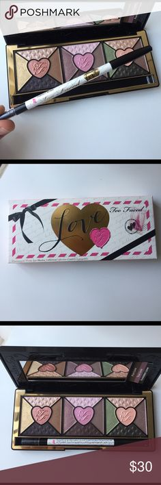 Too Faced Love Palette S2 Soooo beautiful!! Brand new never touched! Just opened for the picture! 15 amazing eye shadow colors and a super black waterproof eyeliner! Also comes with mirror and 3 little cards to show you possible ways to use those gorgeous shadows! I swatch one at the store and it was super pigmented! I absolutely love this but I already have waaaay too many shadow palettes. Too Faced Makeup Eyeshadow