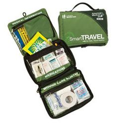 Adventure Medical Kits Smart Travel First Aid Kit @ Campmor.com-this is a good list.  I have one like it only in a red bag which I prefer.  Red screams first aid.