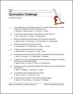 Gymnastics Wordsearch, Vocabulary, Crossword, and More - Sporty Outfits Gymnastics Crafts, Gymnastics Games, Gymnastics Lessons, Gymnastics Birthday, Gymnastics Coaching, Gymnastics Training, Gymnastics Quotes, Sport English, Team Bonding